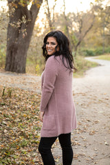FUZZY FEELINGS MAUVE CARDIGAN