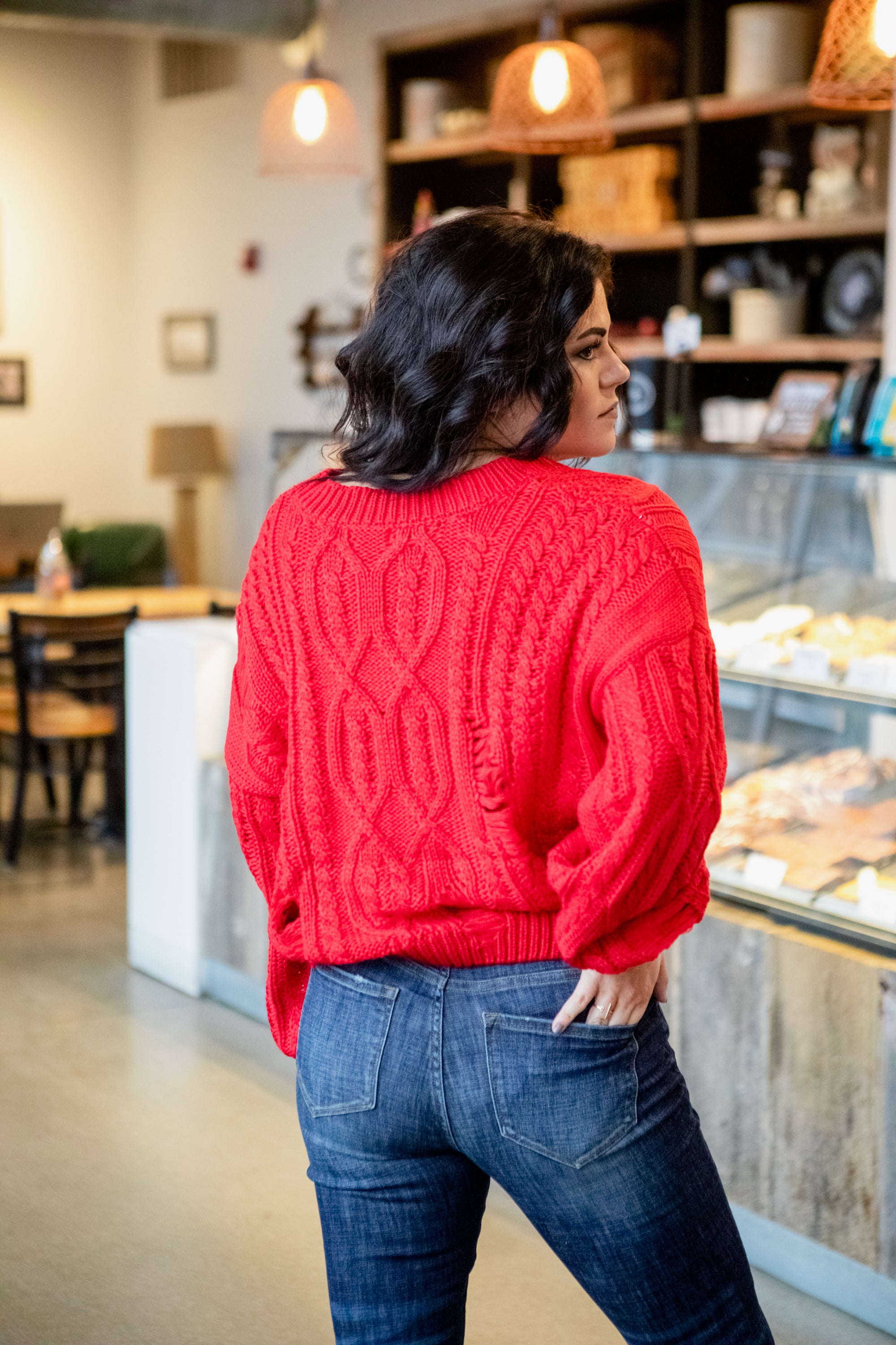 CAN'T BELIEVE KNIT RED SWEATER