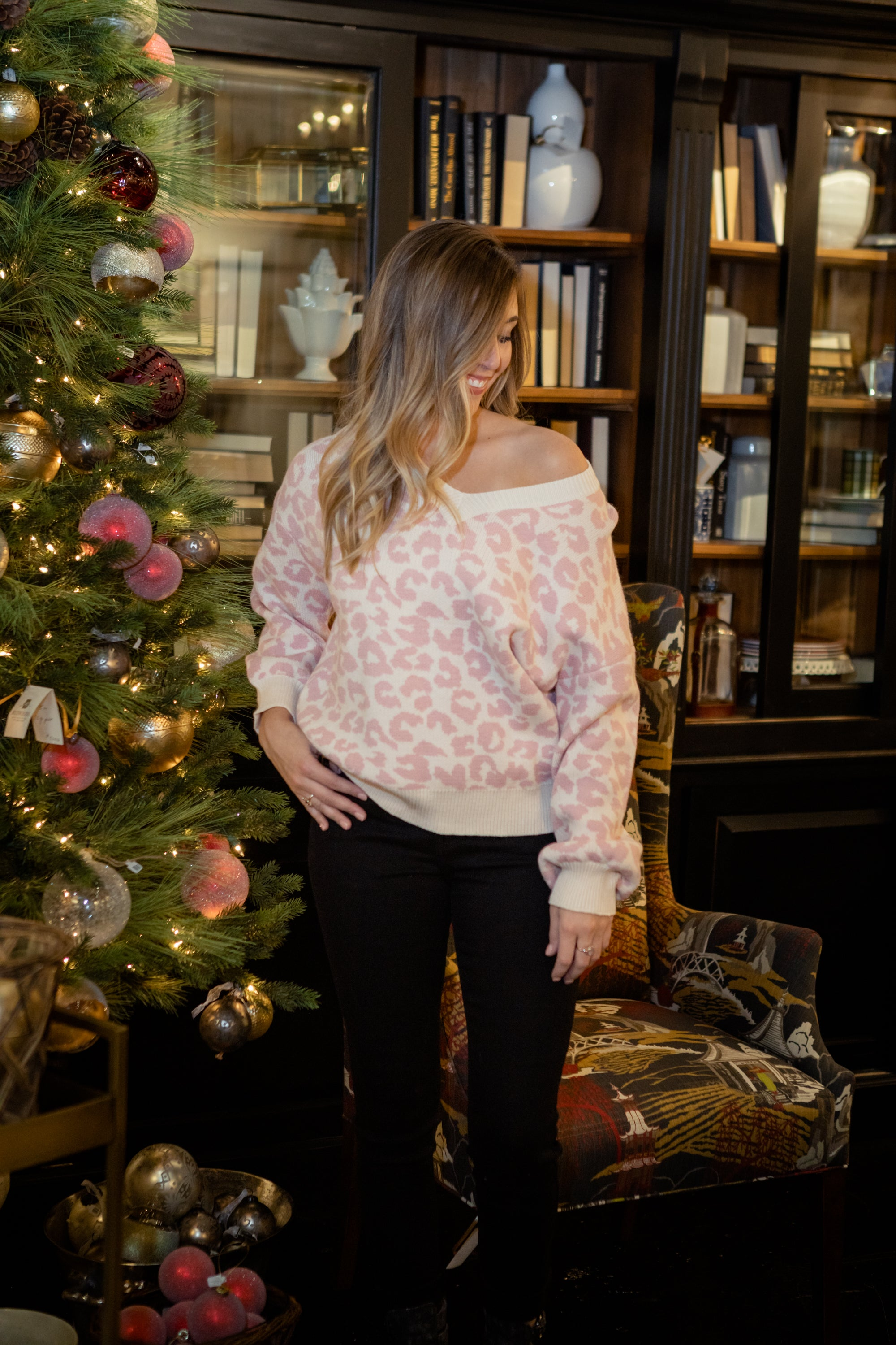 DON'T TAKE IT PURR-SONALLY PINK LEOPARD SWEATER