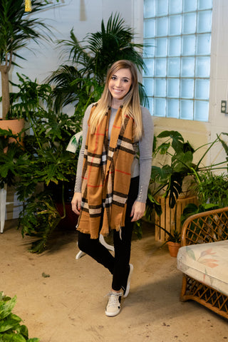 PLAID BLANKET SCARF: CAMEL