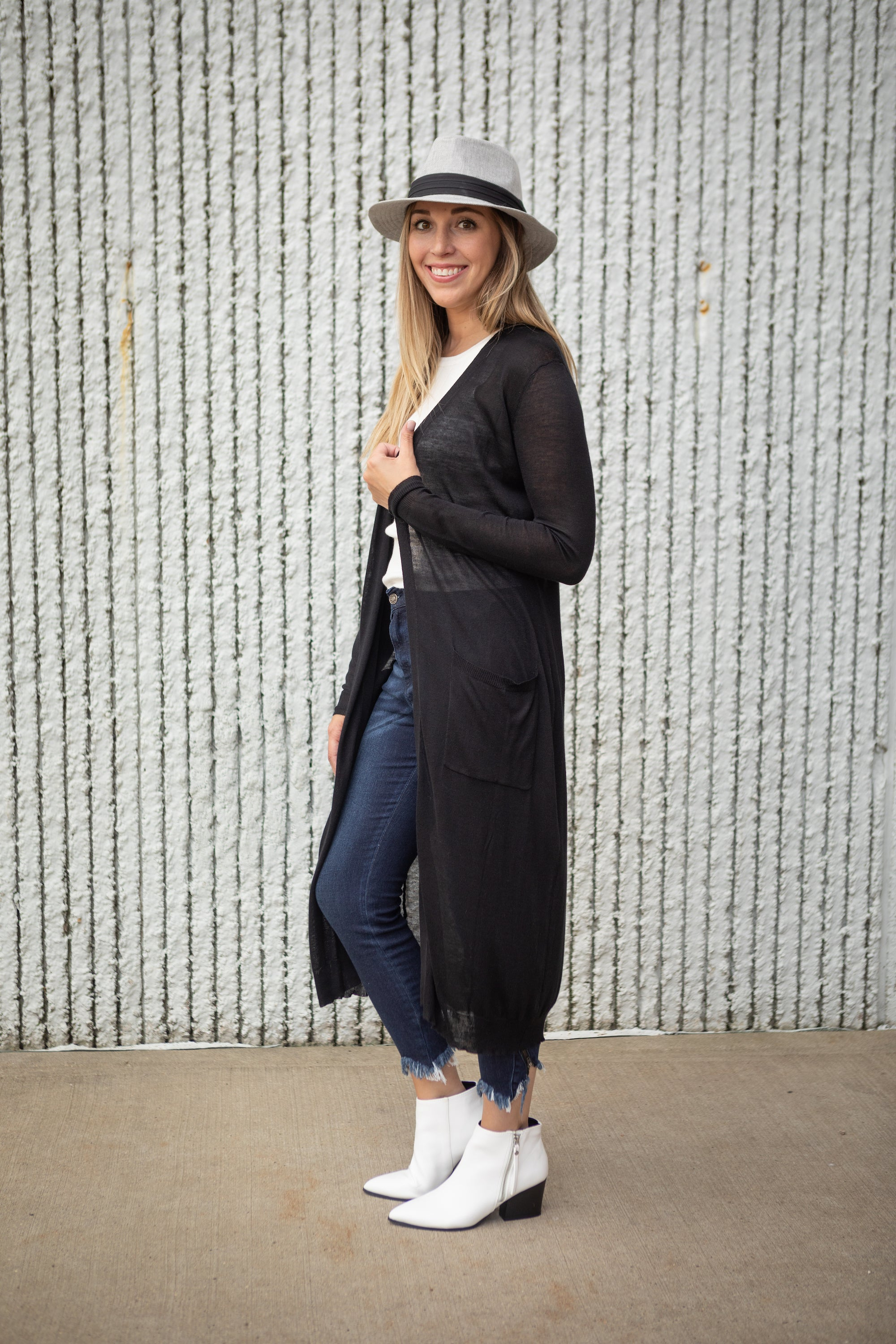 LEAVE 'EM IN THE DUSTER BLACK CARDIGAN
