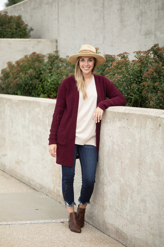 FALLIN' FOR YOU CARDIGAN: WINE