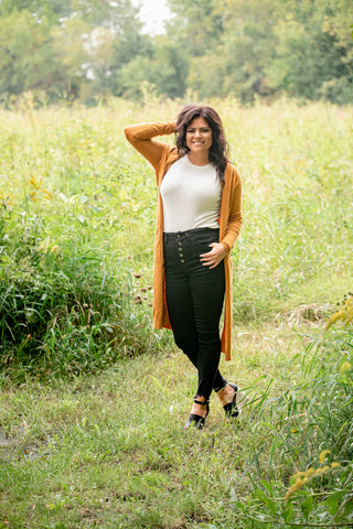 SLIT HAPPENS DUSTER: DARK MUSTARD
