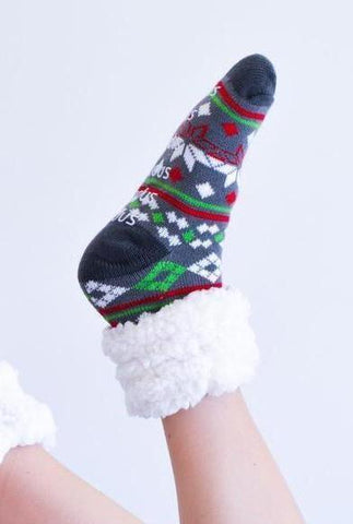PUDUS SLIPPER SOCKS: CHRISTMAS EVE GREY