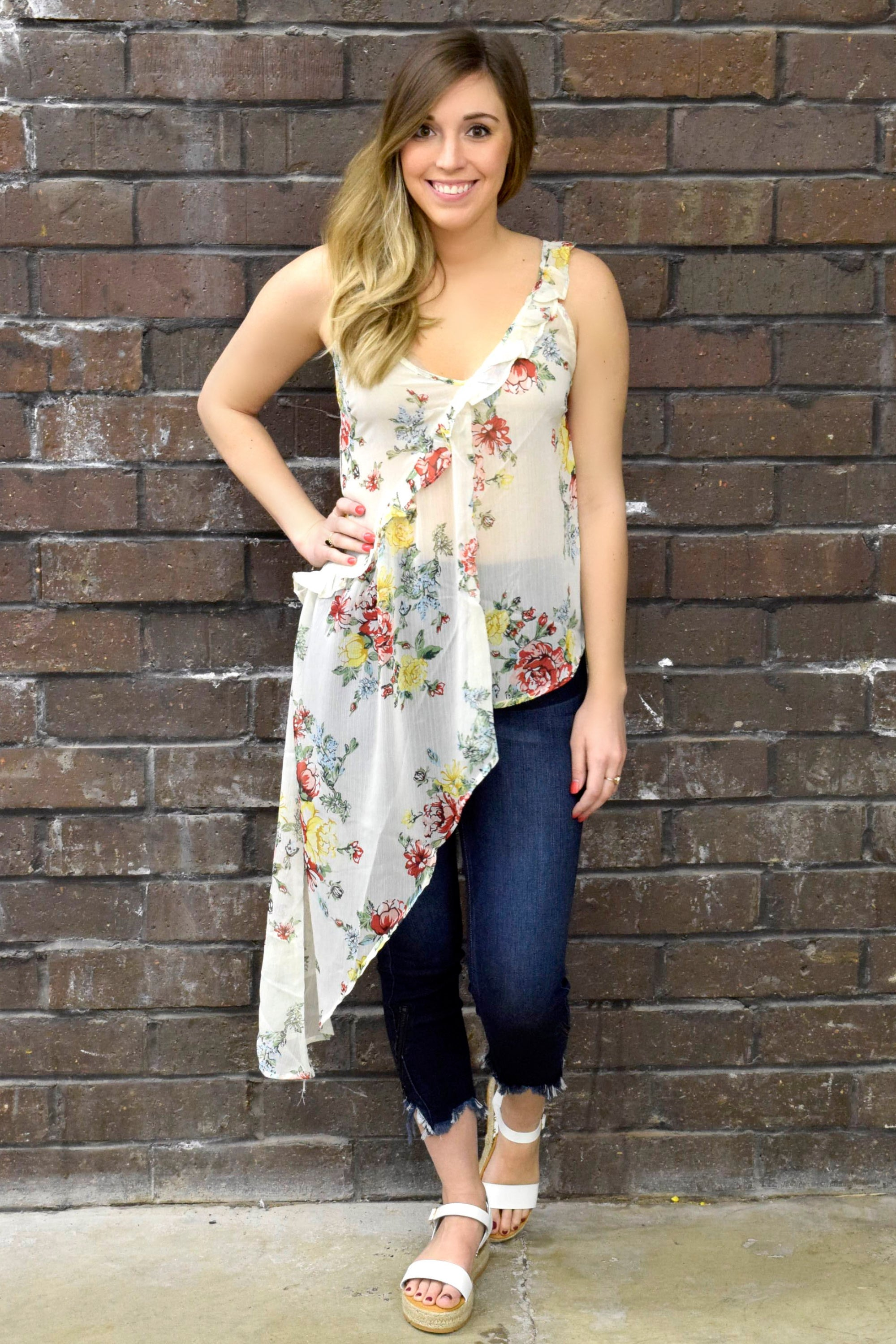 NOT YOUR ONE TRICK PEONY IVORY TANK