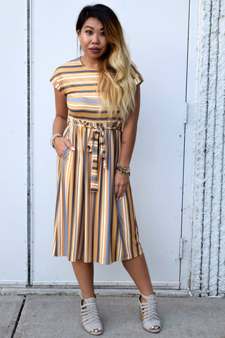 ONLY WITH YOU MUSTARD STRIPED MIDI DRESS