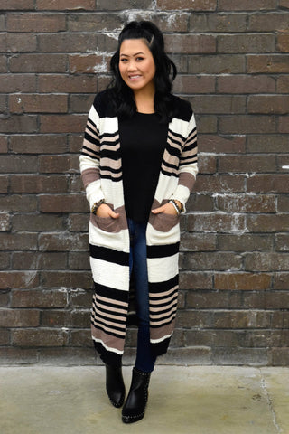 DARLING DUSTER STRIPED CARDIGAN