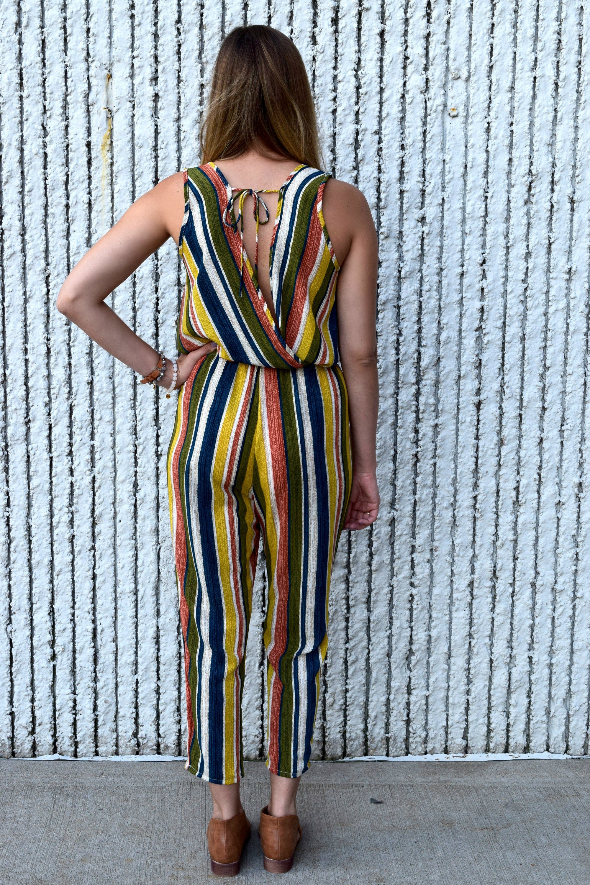 SO OUTTA LINE STRIPED JUMPSUIT