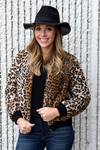 CAT'S MEOW LEOPARD BOMBER JACKET