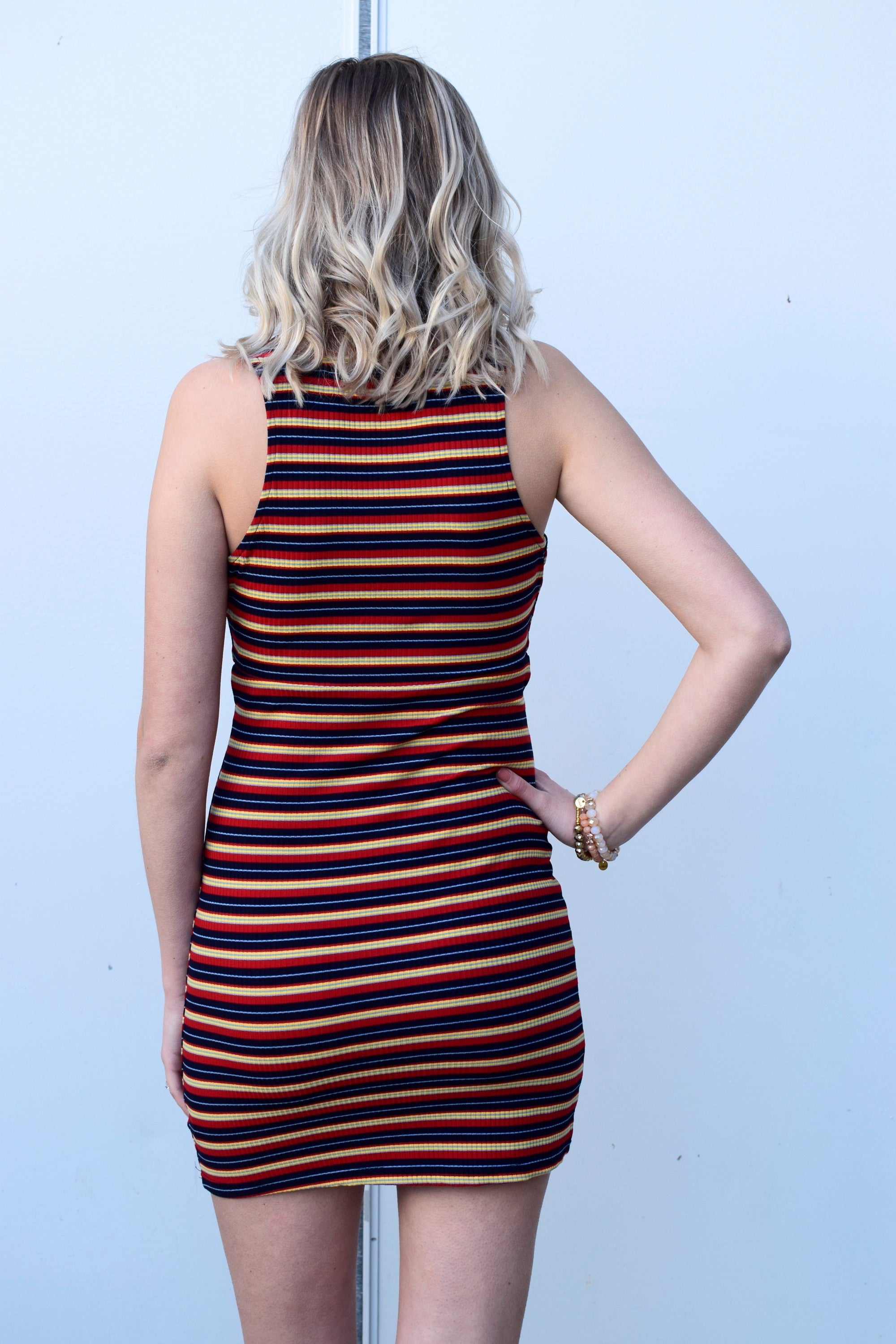 STRIPE YOU ARE RED STRIPED DRESS