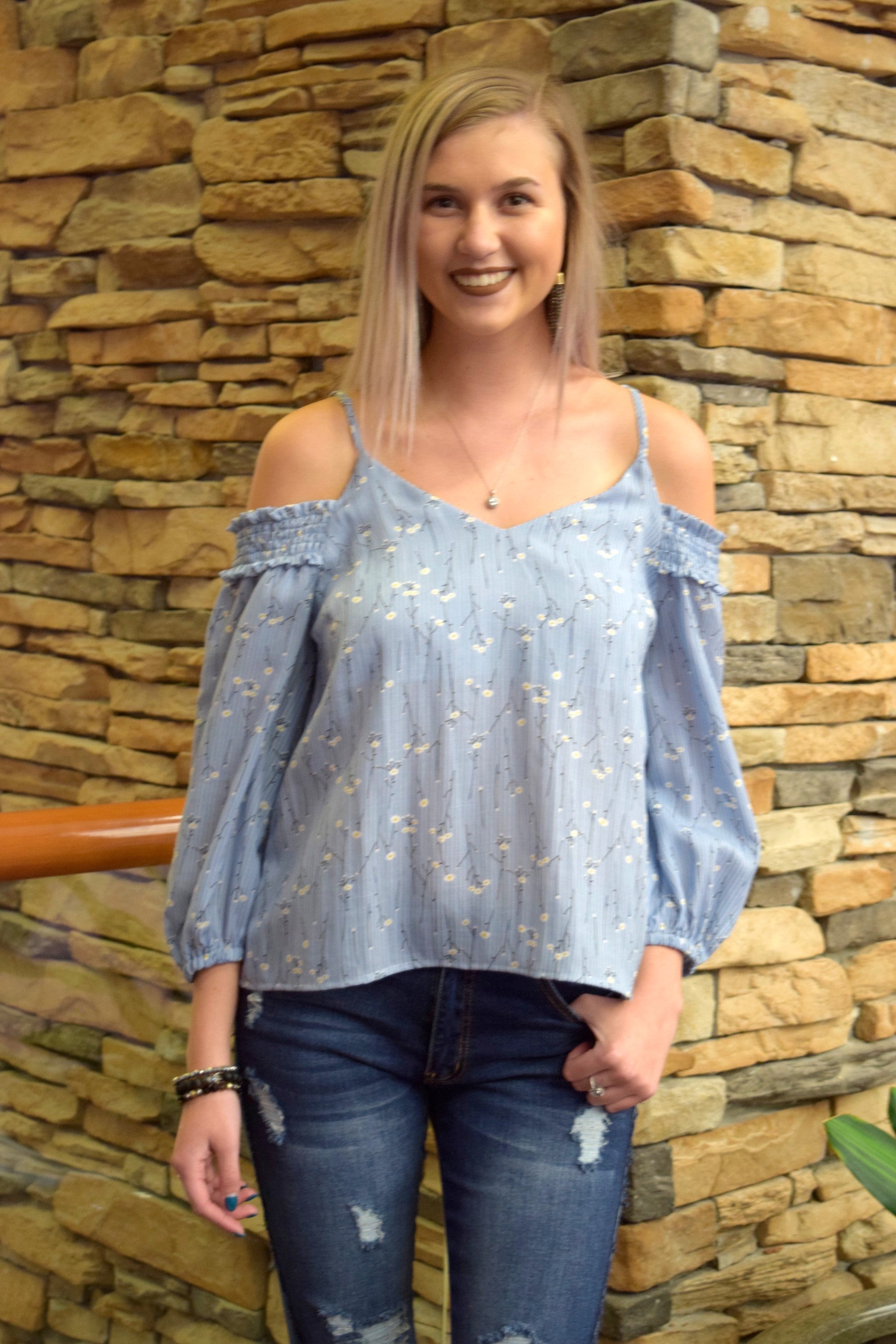 SUMMERTIME BLUES COLD SHOULDER TOP