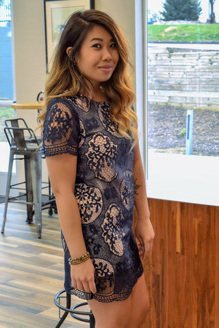 FOR THE LOVE OF LACE NAVY DRESS