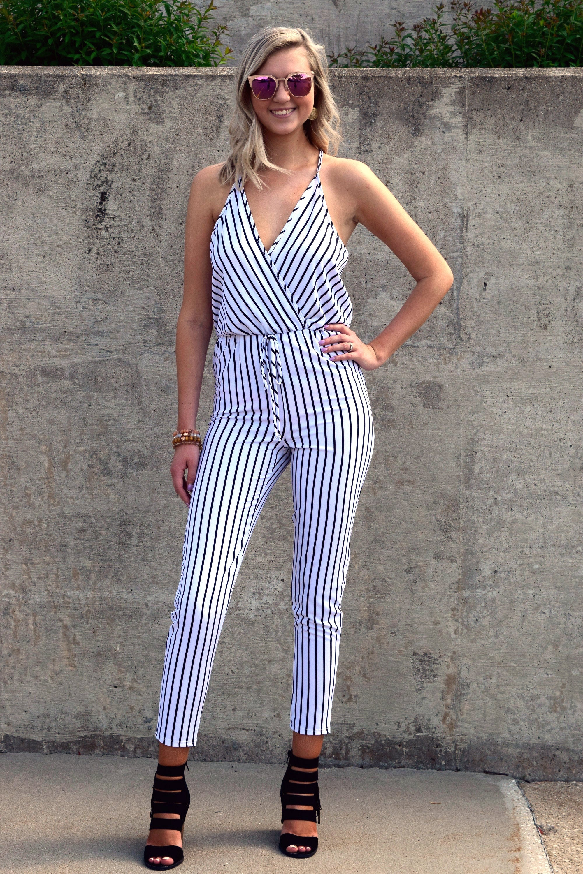JUST MY STRIPE BLACK AND WHITE JUMPSUIT