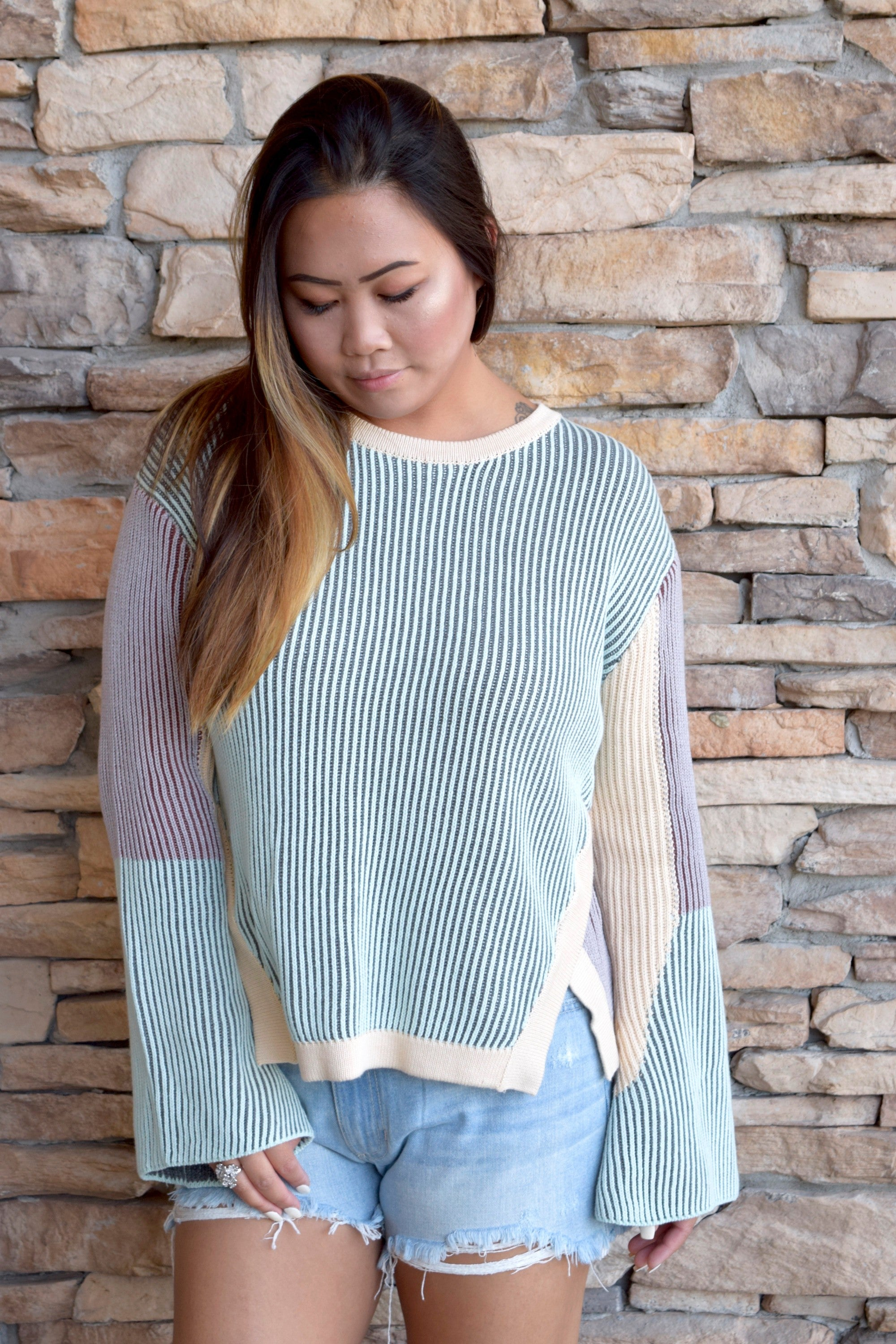 TEXTURE LATER RIBBED SWEATER