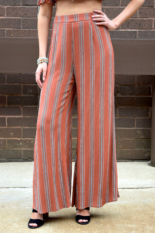 FEELING FINE RUST STRIPED SET: PANTS