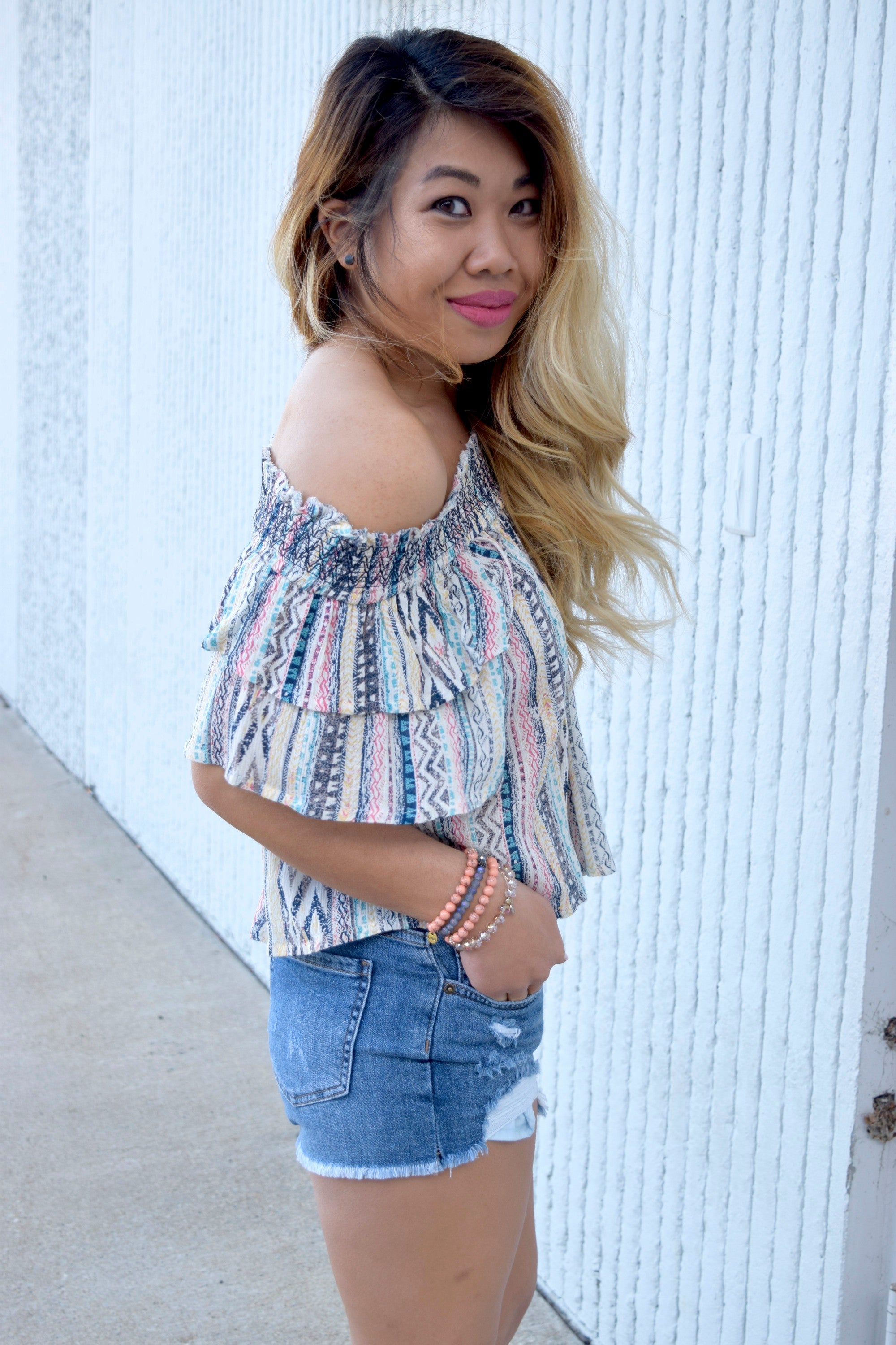 SHAKE IT OFF THE SHOULDER STRIPED TOP