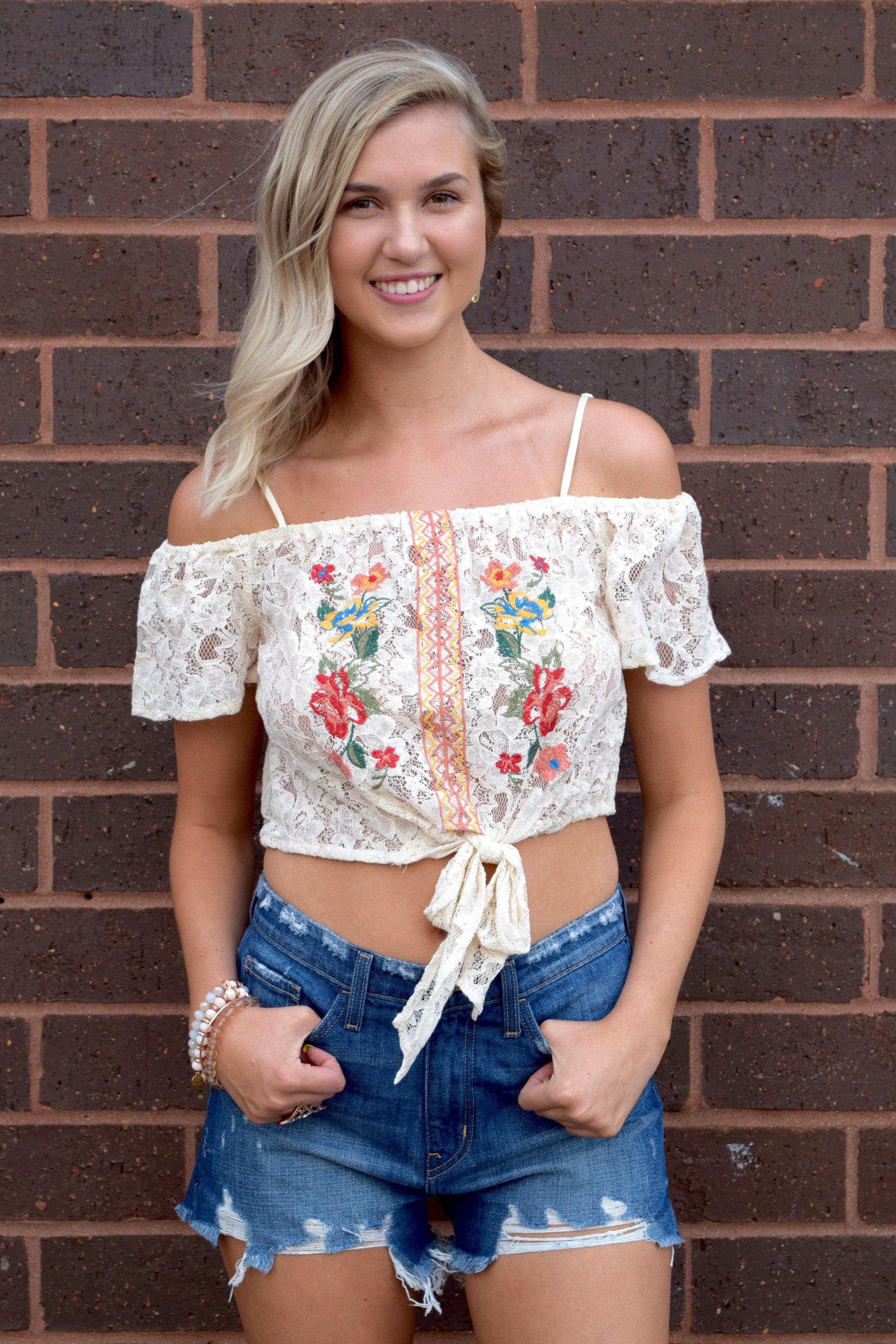 FINDERS KEEPS IVORY LACE TOP