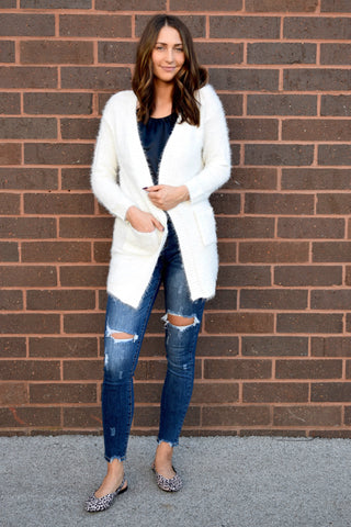 WARM AND FUZZIES CARDIGAN : IVORY
