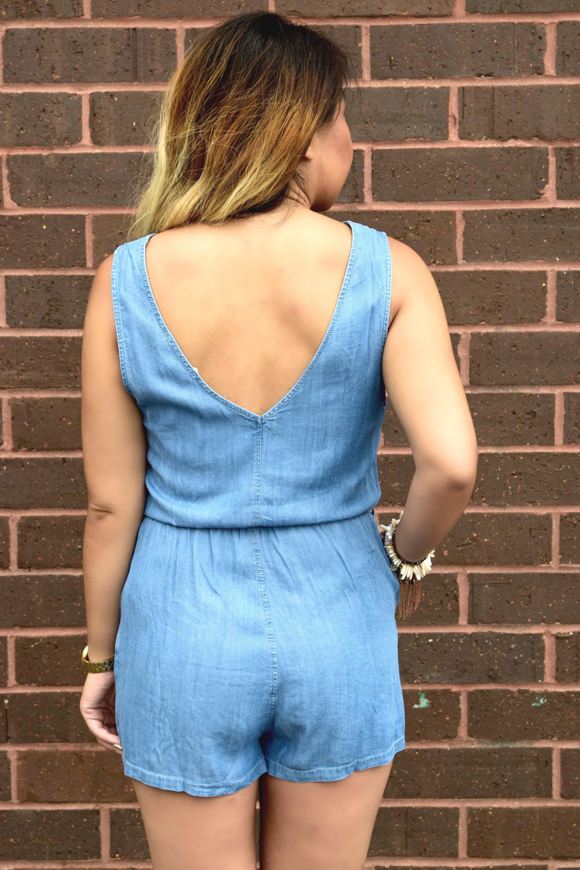 TO THE MOON CHAMBRAY ROMPER