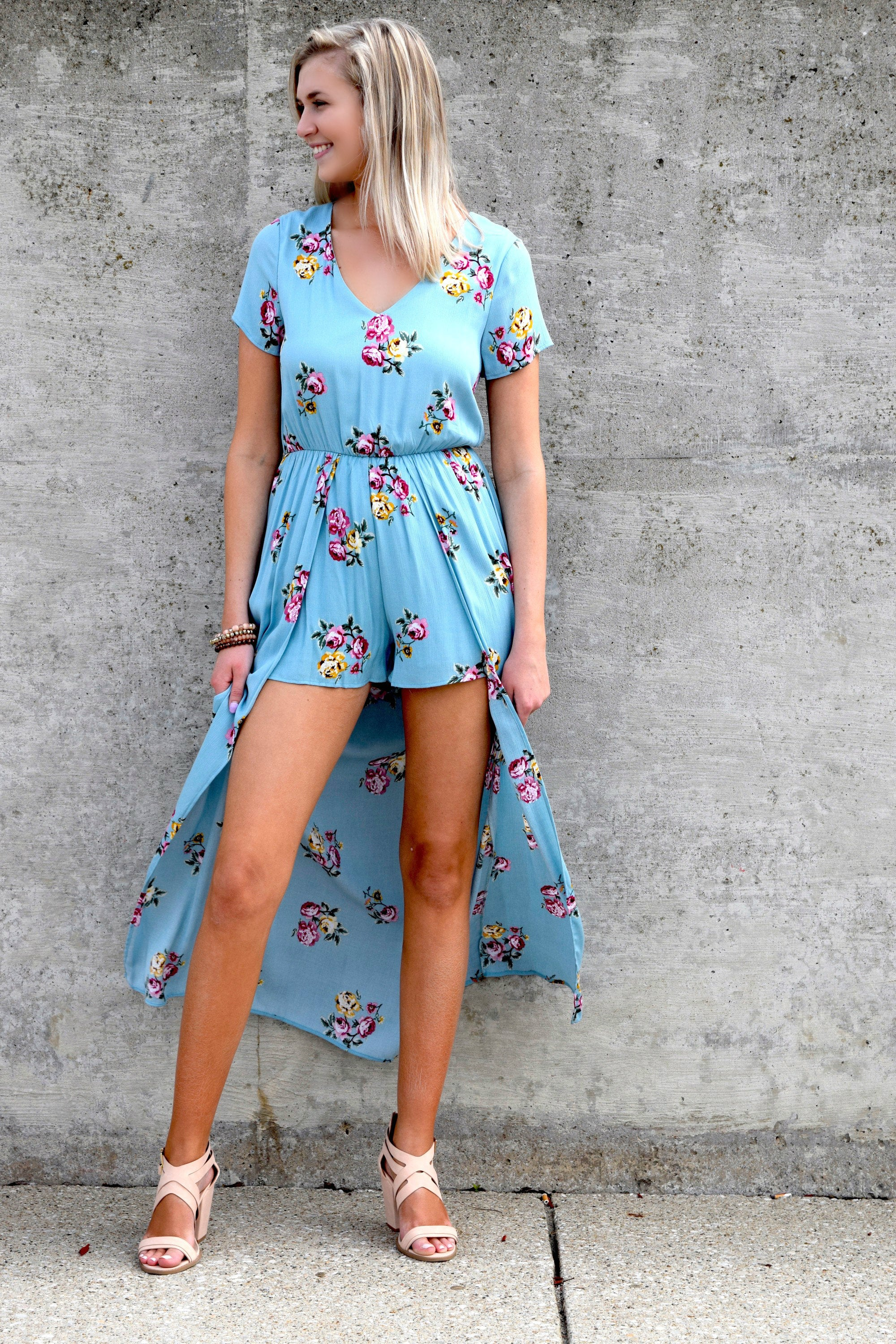 EASY TO LOVE BLUE MAXI ROMPER