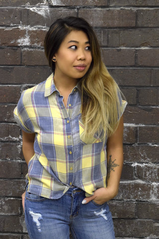 BLURRED LINES BLUE & YELLOW PLAID TOP