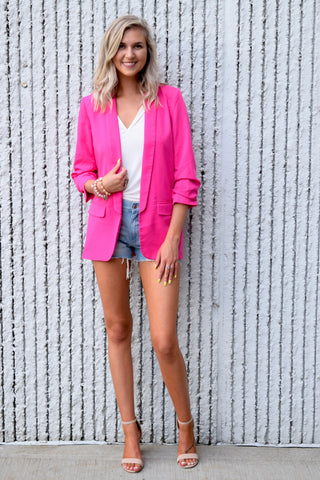 SHE MEANS BUSINESS BLAZER : FUSCHIA