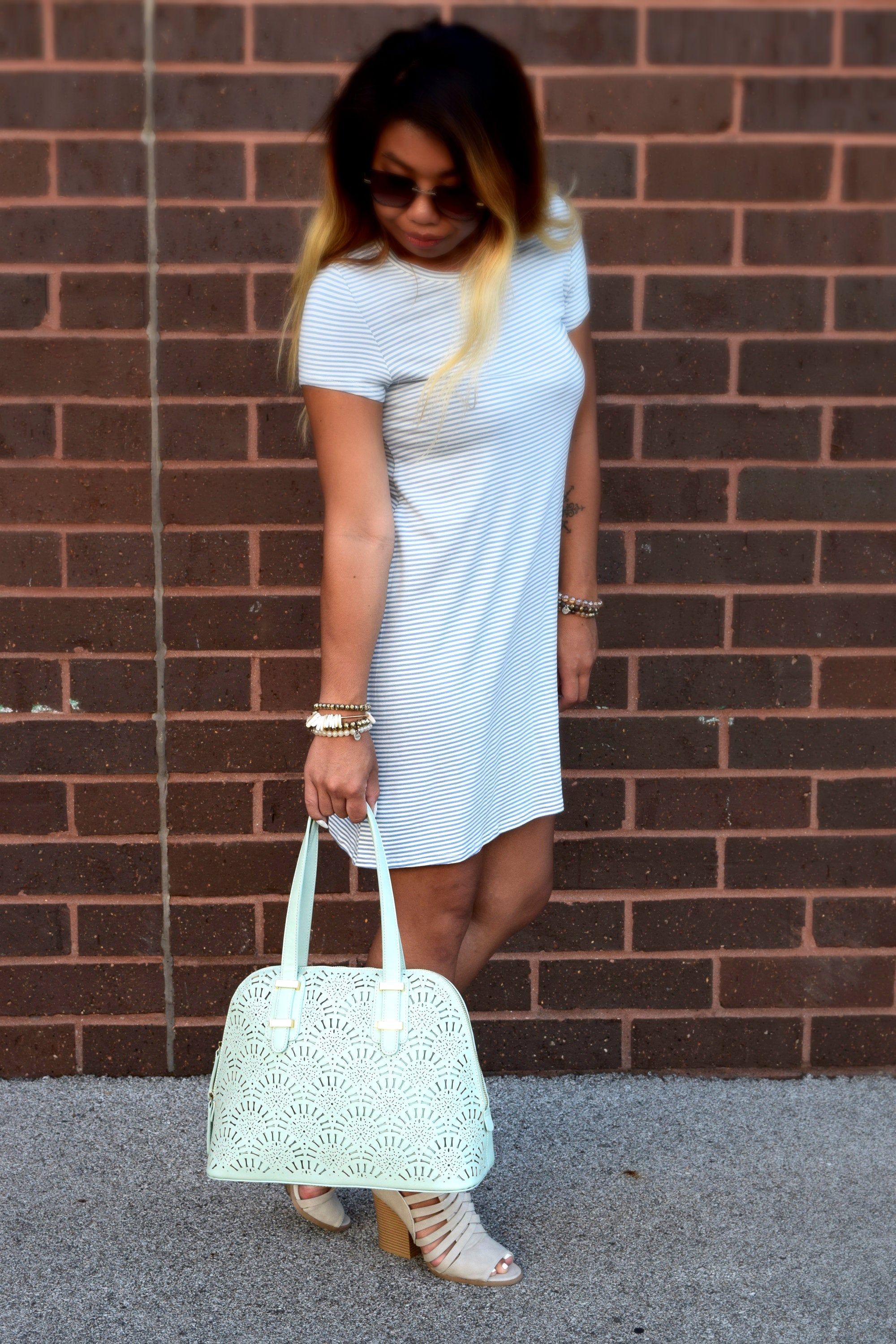 ALONDRA MINT LASER CUT TOTE