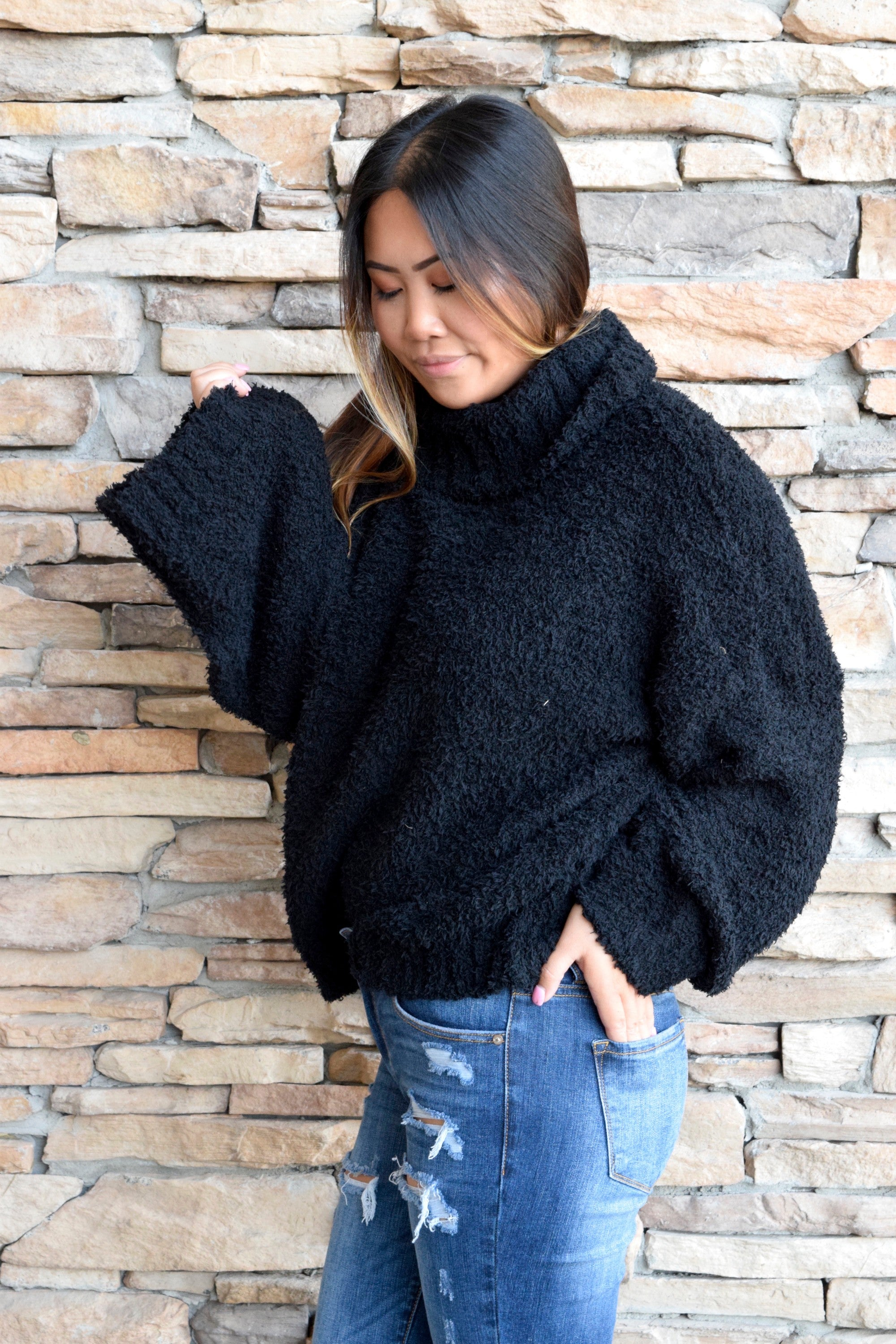 CUDDLE UP BLACK SWEATER