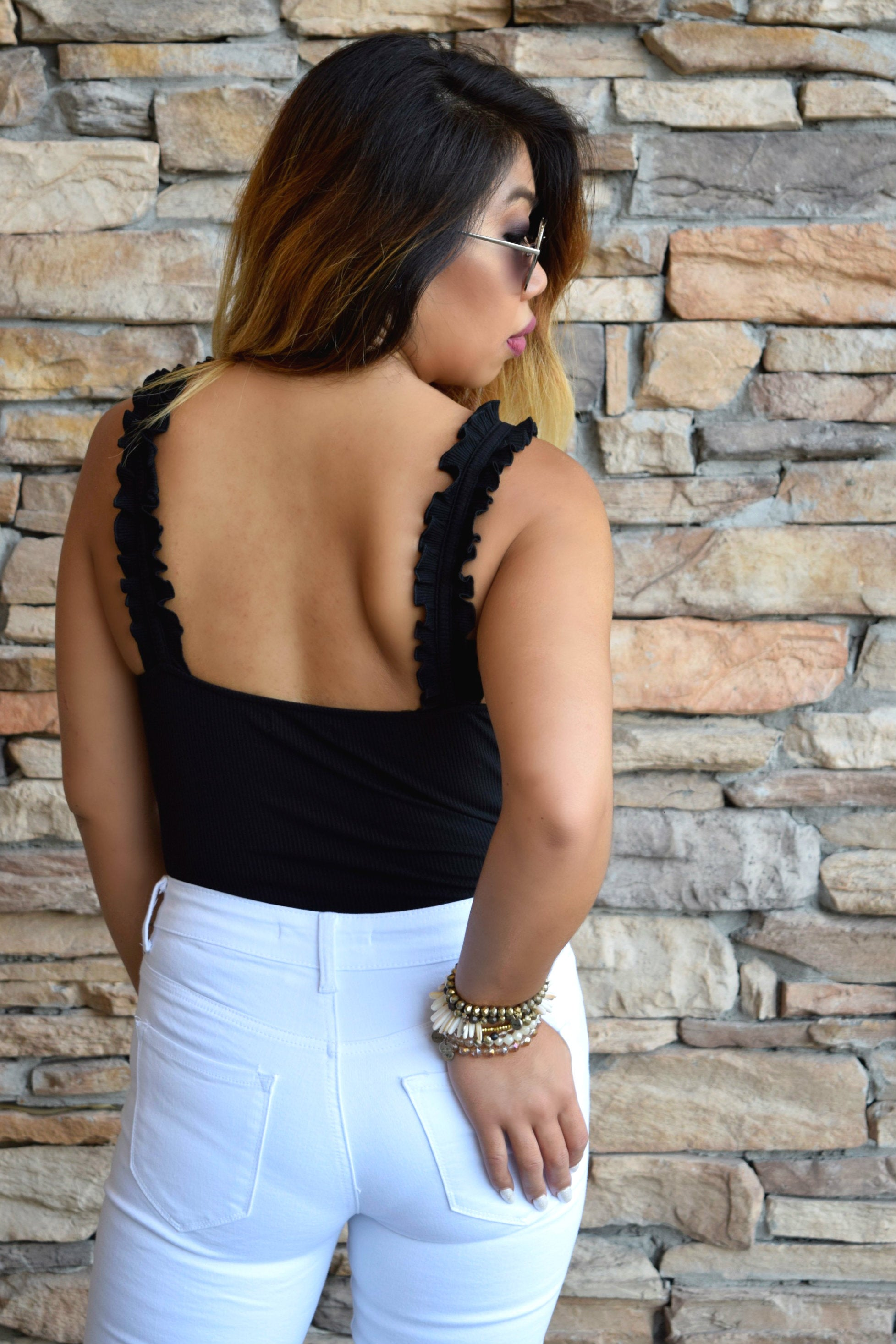 CAUSE A RUFFLE BLACK BODYSUIT