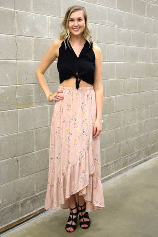 DAYS OF RAYS PINK FLORAL MAXI SKIRT