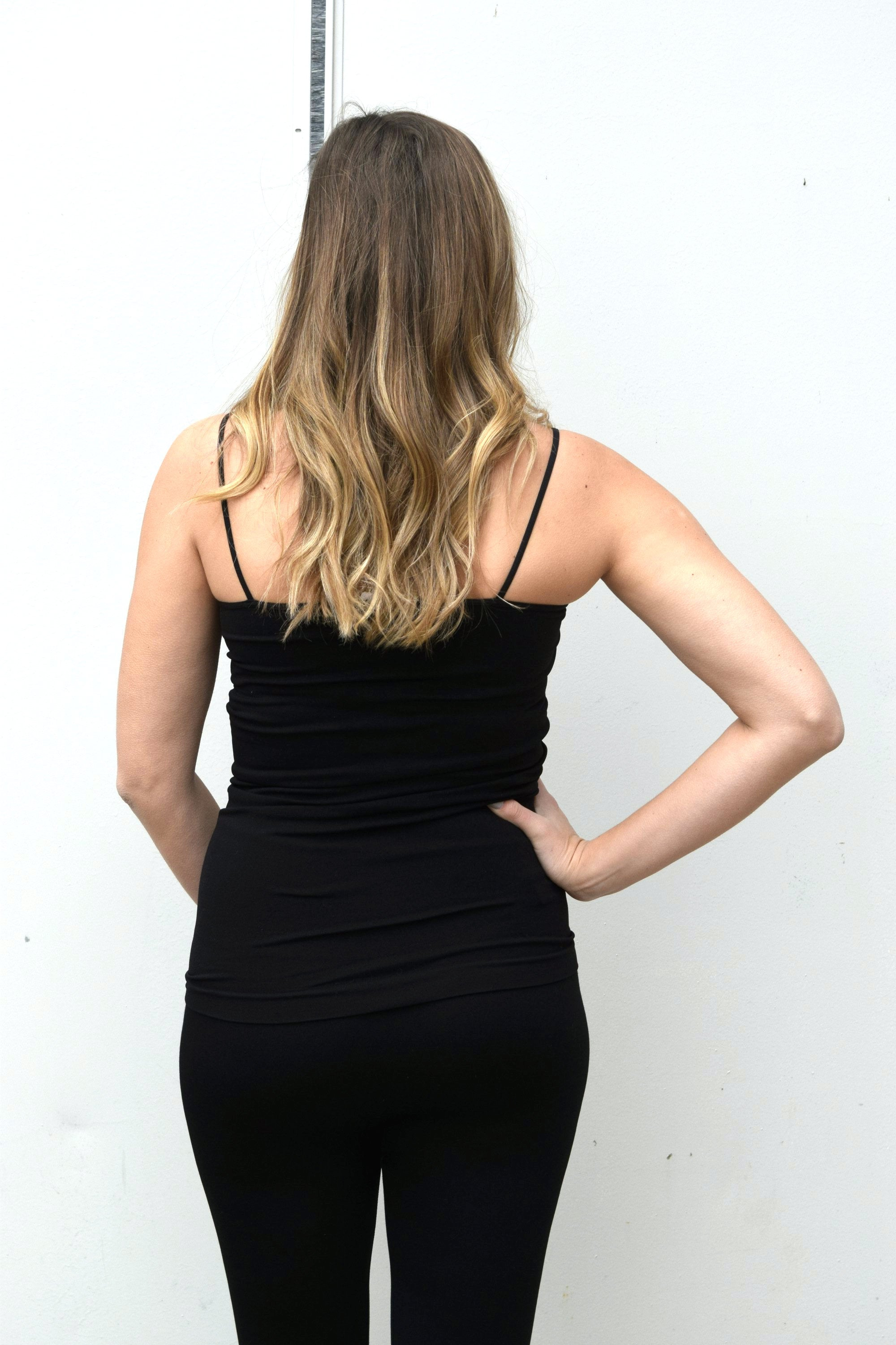 BASIC LONG CAMI: BLACK