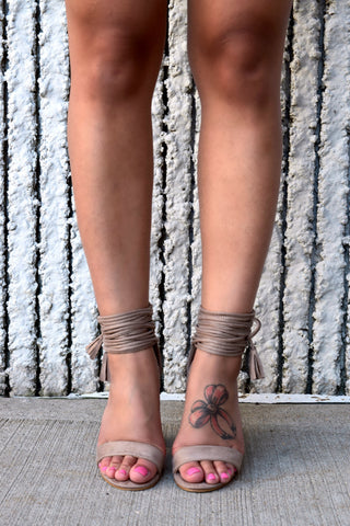 SO STRAPPY TAUPE SUEDE BLOCK HEELS