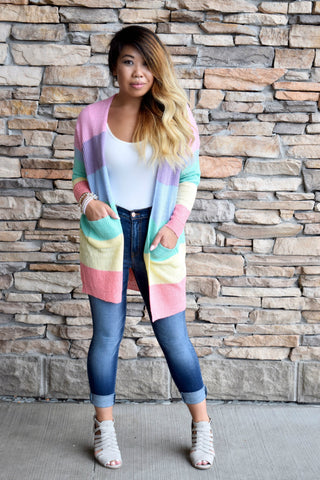 ALL SUNSHINE AND RAINBOWS STRIPED CARDIGAN