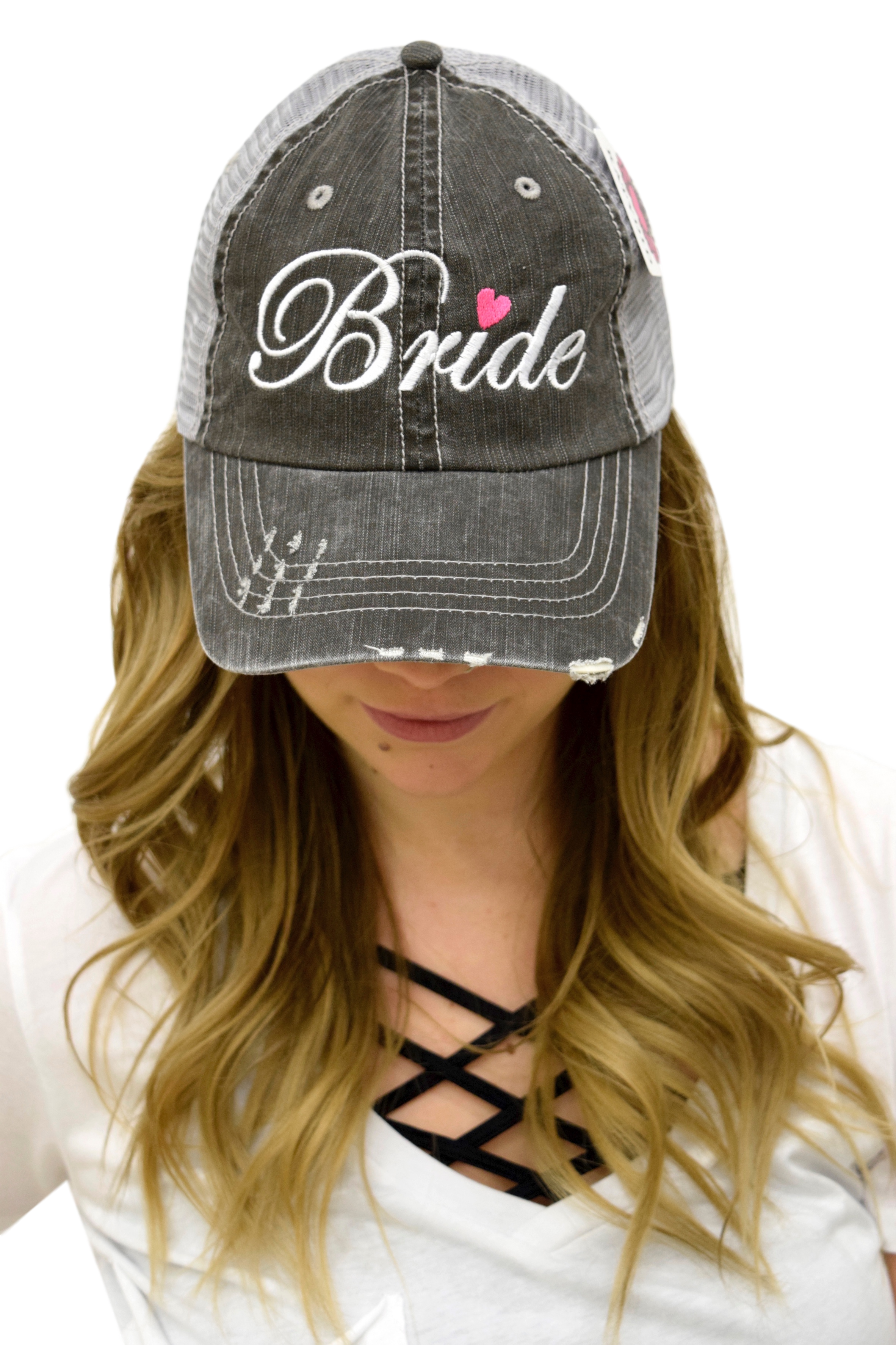 GRAY TRUCKER HAT: BRIDE