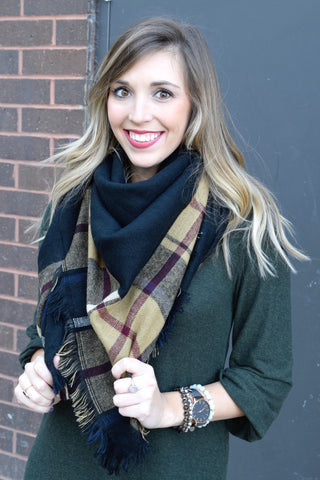 BLACK & TAN PLAID BLANKET SCARF