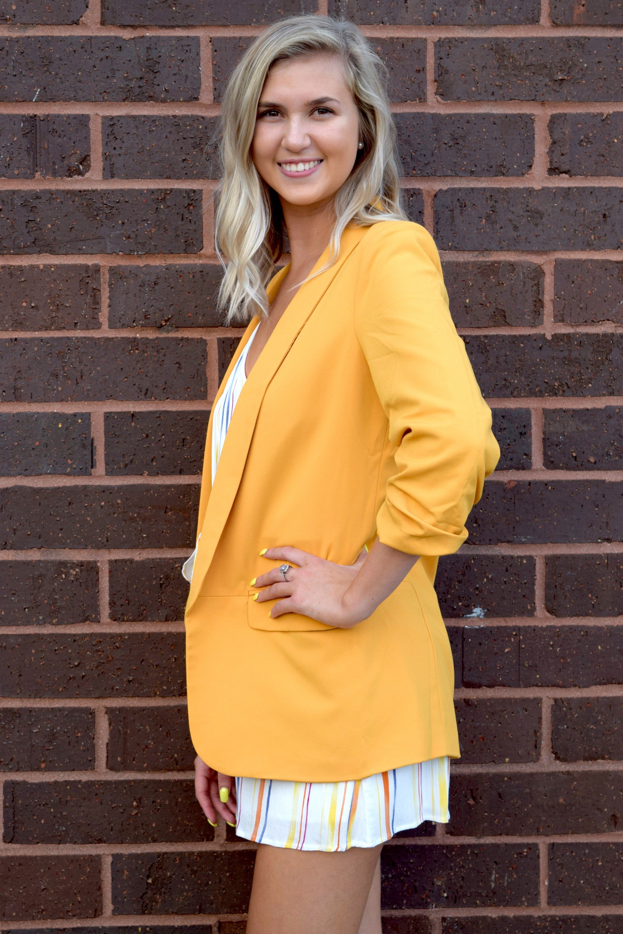 SHE MEANS BUSINESS BLAZER: MUSTARD