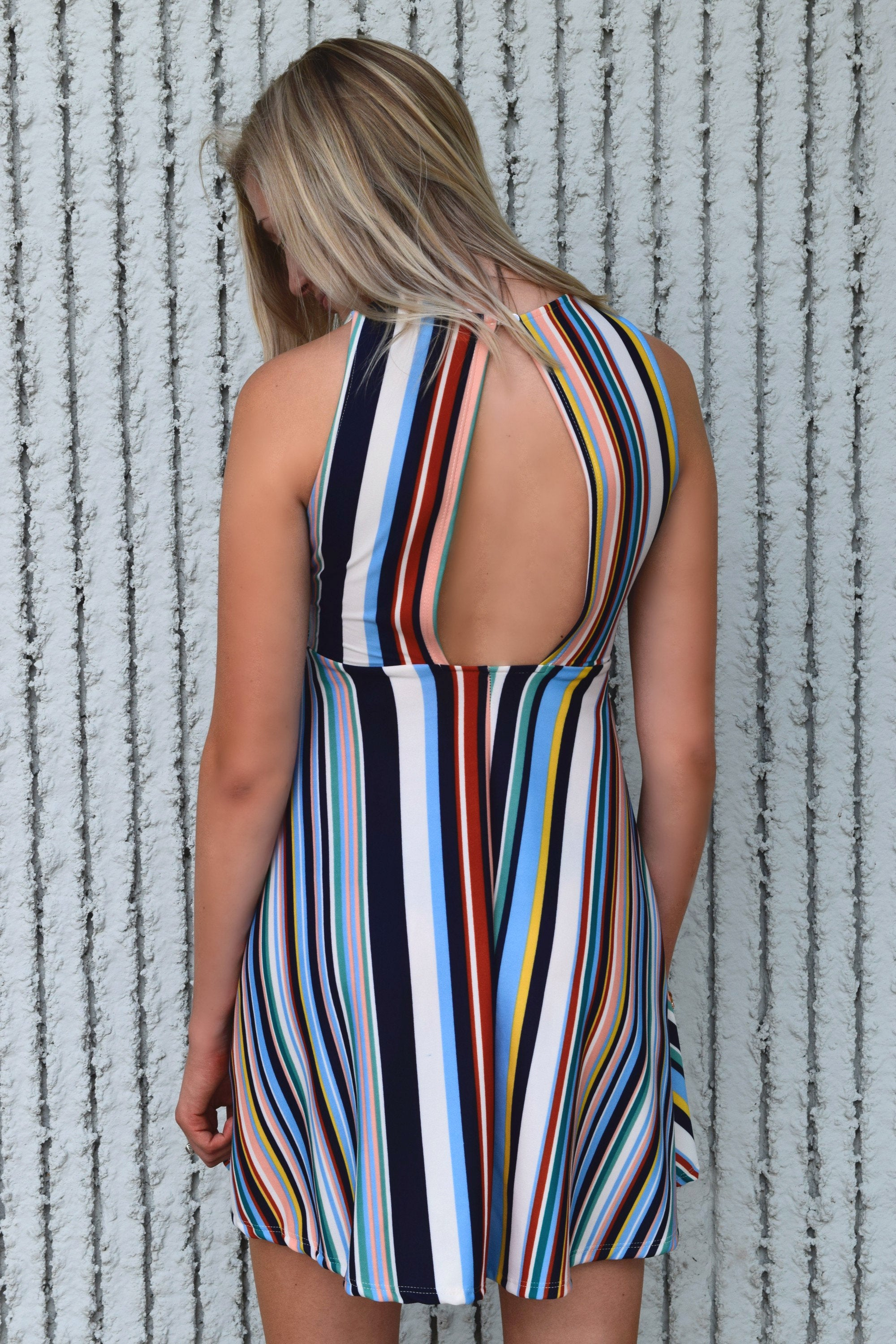 COLORS OF THE RAINBOW STRIPED DRESS