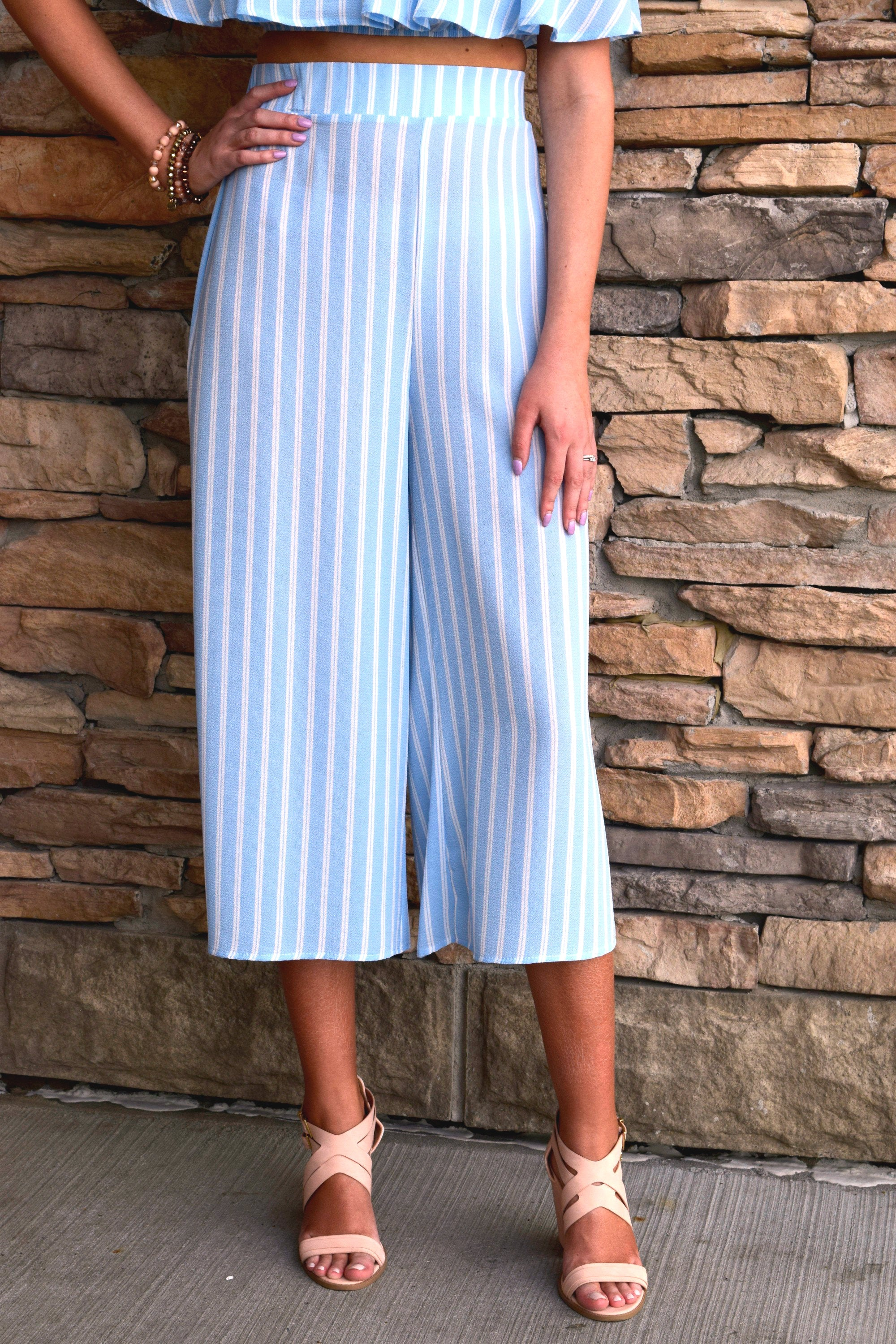 NOW OR NEVER BLUE STRIPED SET: PANTS