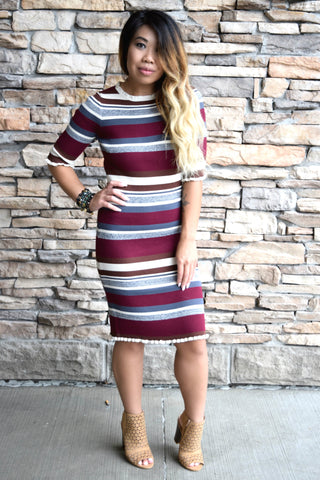NEW ROMANCE BURGUNDY STRIPED DRESS