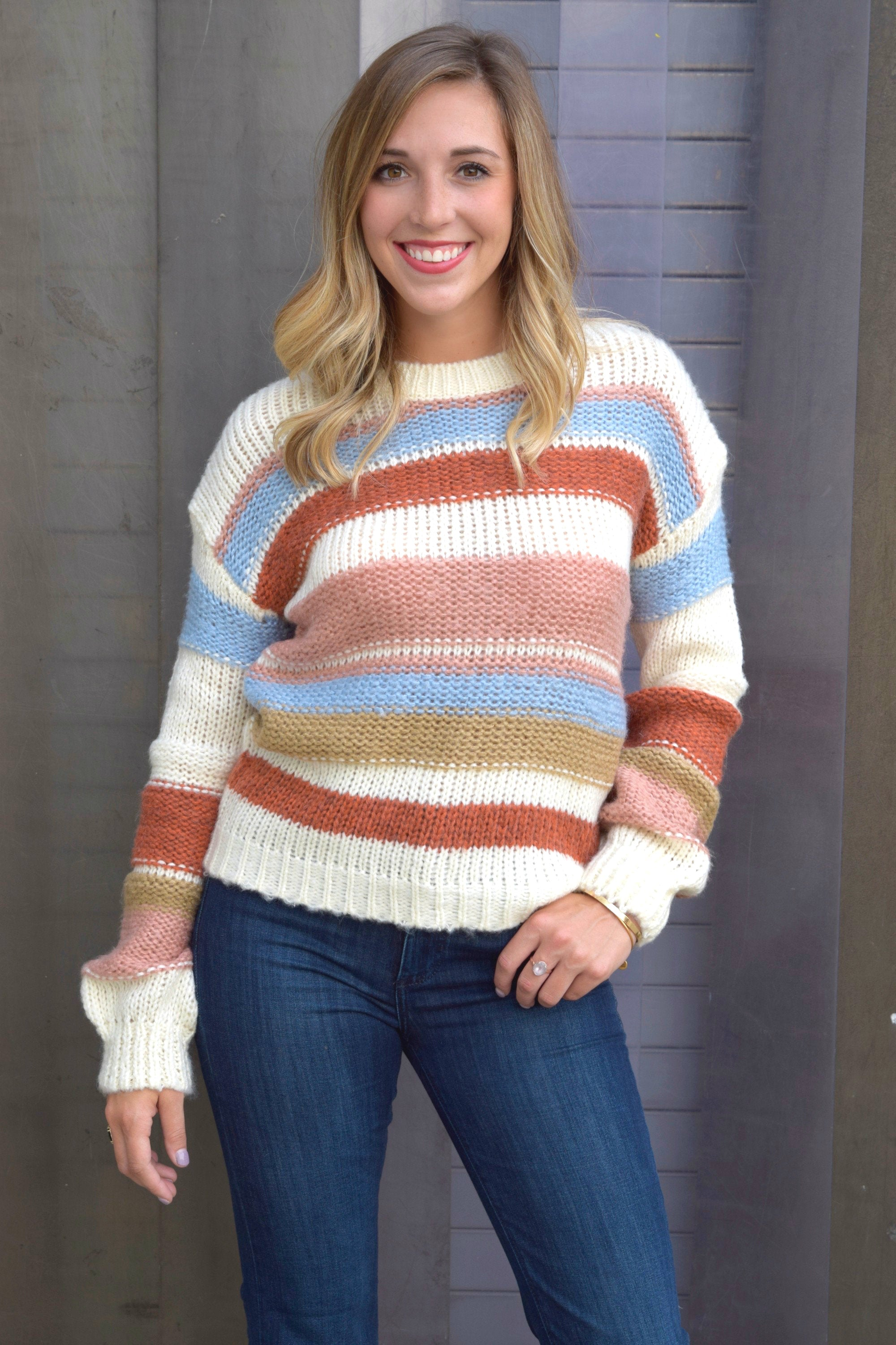 COZY CUTIE IVORY STRIPED SWEATER