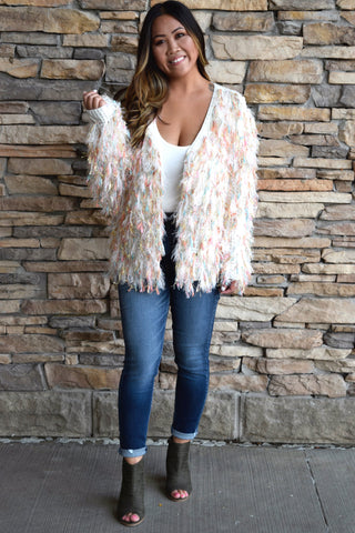 UNICORN SHAG IVORY KNIT CARDIGAN