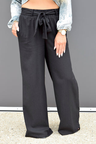 LIFESTYLE BLACK WIDE LEG PANTS