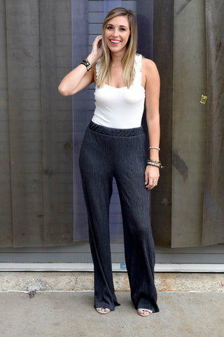 AIM TO PLEAT CHARCOAL WIDE LEG PANTS