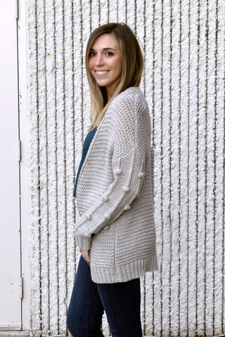 SHAKE YA POM POMS GREY CARDIGAN SWEATER