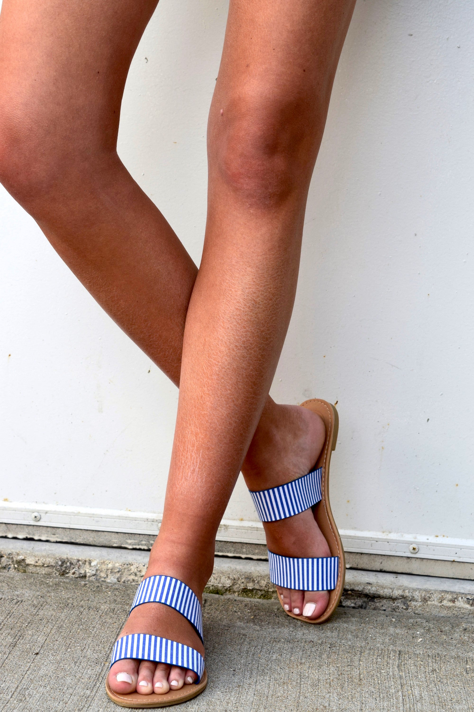 A DAY IN HER SHOES BLUE STRIPED SLIDES