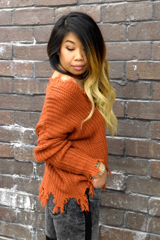 A-FRAYED SO RUST SWEATER