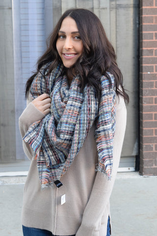 MULTICOLORED PASTEL BLANKET SCARF