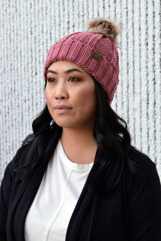 CC BEANIE FLEECE LINED POM: MAUVE