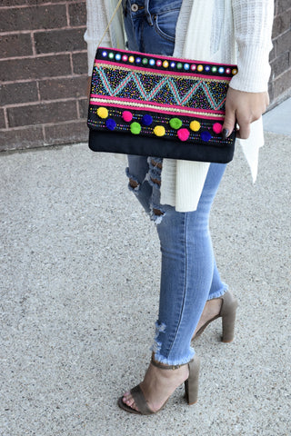 LOOK ON THE BRIGHT SIDE BLACK CLUTCH