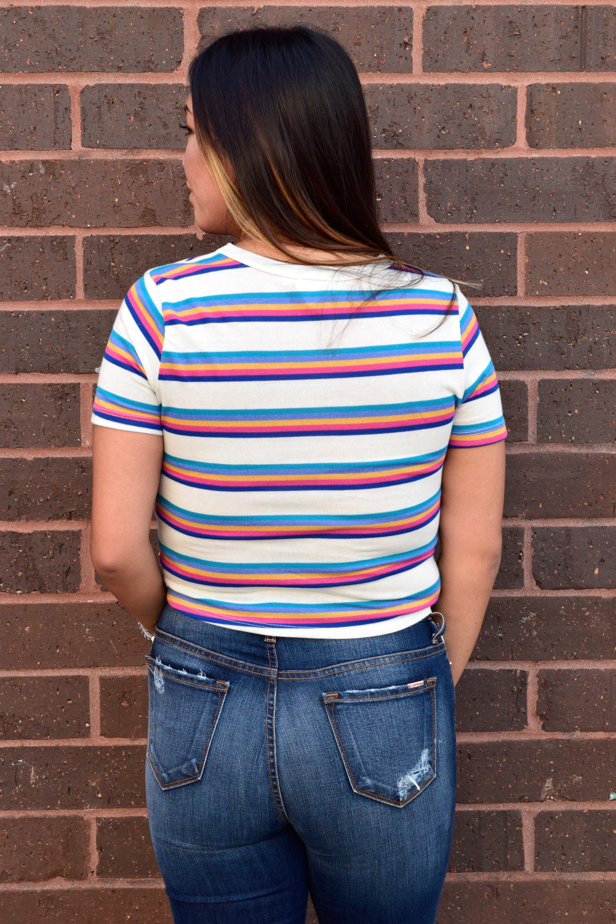 CHASING RAINBOWS STRIPED CROP TOP